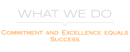 WHAT WE DO   Commitment  and  Excellence  equals  Success