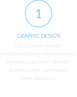 GRAPHIC DESIGN Full Corporate Identity. Any Graphic Design requirement for Company Logo, Flyers, Banners,  Business Cards, Letterheads, Email Signatures. 1