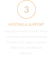 HOSTING & SUPPORT Hosting is done in South Africa ensuring a seamless Hosting Process. Our Support service offers fast and efficient solutions. 3
