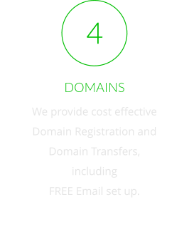 DOMAINS We provide cost effective  Domain Registration and  Domain Transfers, including FREE Email set up.   4